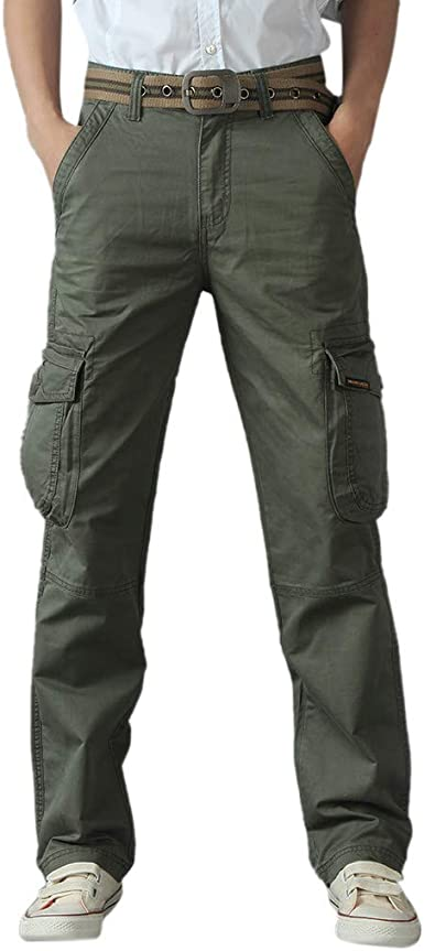 Classic Mens Cool Hot Leisure Pants Multi-Pocket Spring Overalls