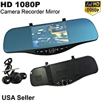 Universal 5.2 Monitor 1080P Full HD Blue Tint Front/Backup Rear Camera Video Recorder Rearview DVR Cam Inside Mirror