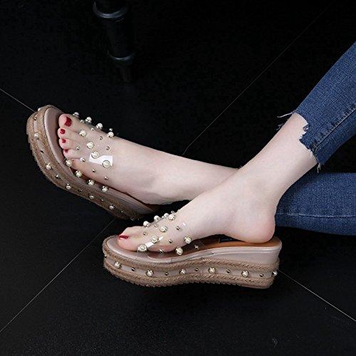 MDRW-6 Cm Dicken Sohlen Muffin - - - Pantoffeln Sommer Neue Die Perle Geformt Sandalen Plastik - Keile Schuhe High Heels f5bf67