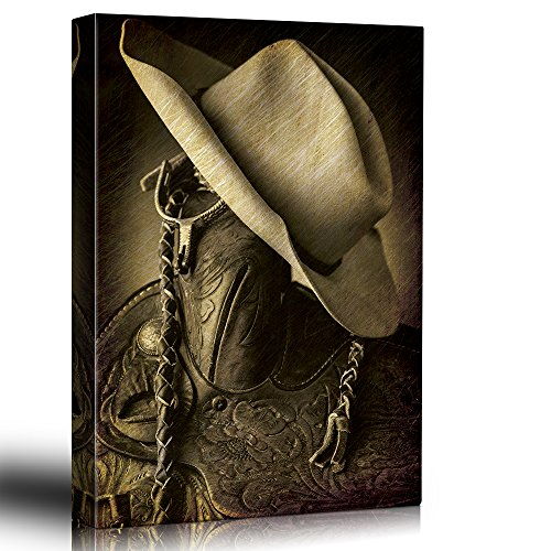 Cowboy hat on the saddle horn Hung up spurs Wood and leather vintage art Country and western rustic tone