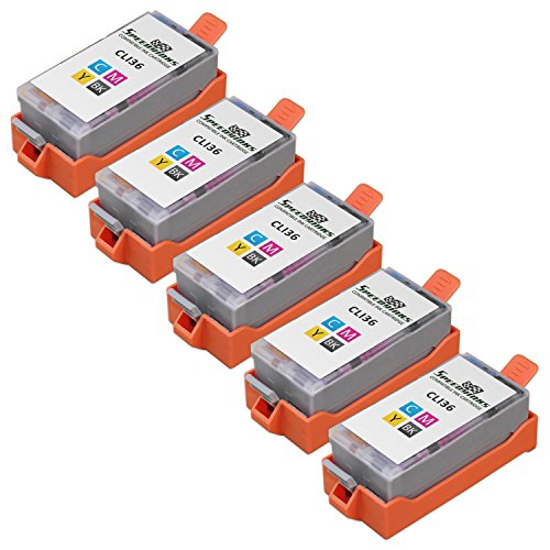 Speedy Inks - 5 Pack Compatible Canon CLI-36 5 Tri Color for use with Canon PIXMA iP100l, PIXMA mini260, PIXMA mini320, RFB IP100. Ink Cartridges for inkjet printers. CLI-36-C - 1511B002