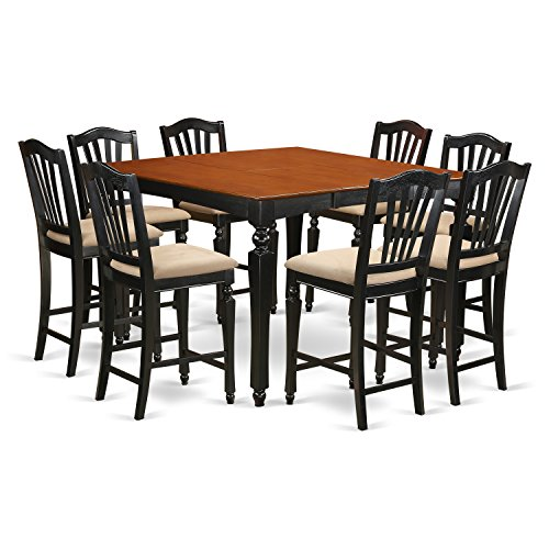 East West Furniture CHEL9-BLK-C 9 PC Counter Height Set- Square Pub Table and 8 Kitchen Counter Chairs