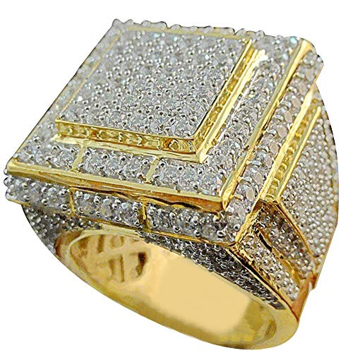 angel3292 Clearance Deals!!Men Fashion Big Square Hip Hop Full Micro Rhinestone Pave Iced Out Rings Jewelry Golden US 10