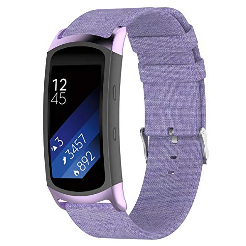 Aolvo Canvas Watch Bands Replacement Accessories Strap fit for Samsung Gear Fit2 Pro SM-R365/ Gear Fit2 SM-R360 Purple