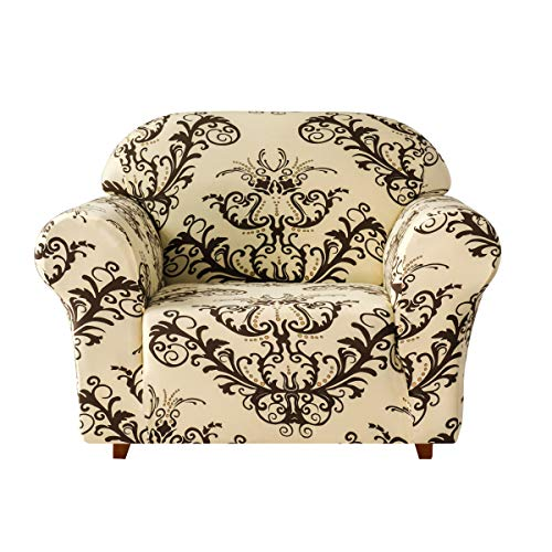 TIKAMI Stretch Sofa Slipcovers Printed Floral Couch Chair Covers for Living Room Stylish Furniture Protector(Chair, Coffee)