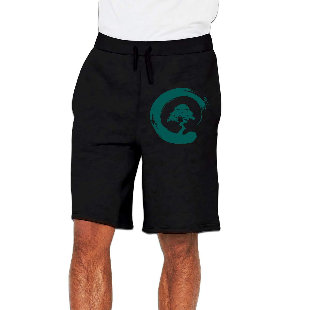 Nx55Ol@KU Mens Fashion Bonsai Tree Jogger Sweatpant Training Gym Shorts