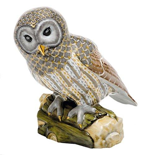 (Herend Gray Barred Owl Porcelain Figurine Reserve)