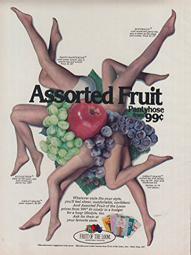 Assorted Fruit Pantyhose 99c Fruit of the Loom ad 1978 ()
