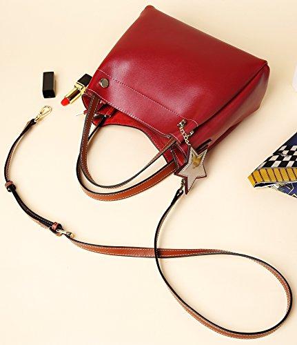 Fashion in vera Small For Crossbody Weidu Women vino da donna Nero rosso Girls On Sale pelle Handbags Borse d4n8n6wO