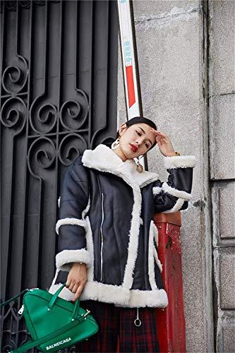 Abrigos Modernas Solapa Larga Caliente Vintage Chaqueta Mujer Espesar Invierno De Chaqueta Huixin De Gamuza Bolsillos Otoño Cremallera Manga con Schwarz Imitación Outerwear Iq8gPaxfw
