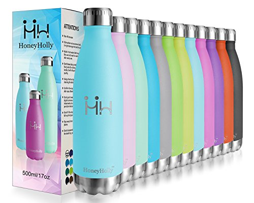 HoneyHolly Vacuum Insulated Stainless Steel Sport Water Bottle-350/500/650/750ml Drinks Bottles Leakproof Double Walled Bpa Free Reusable Metal Hot/Cold Thermal Flask for Kids,Kindergarten,School,Gym