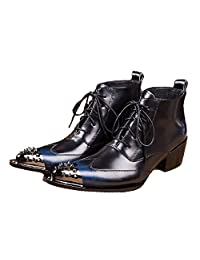 US Size 5-12 New Black Leather Mens Lace Up Dress Steel Toe Ankle Boots Shoes
