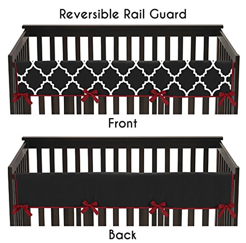 Sweet Jojo Designs Red and Black Trellis Lattice Long Front Rail Guard Baby Teething Cover Crib Protector (Red Rail Guard)