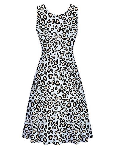 Vestido Uideazone De Verano Informal De Manga Corta Con Cuello Redondo Para Playa Acampanado Para Mujer