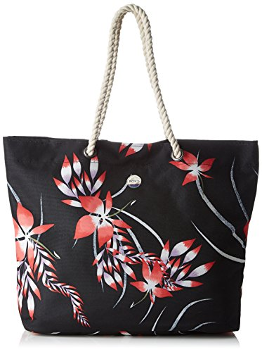 (Roxy Printed Tropical Vibe Beach Bag in Anthracite Mystery Floral)