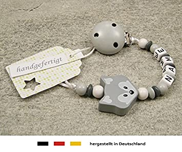 Any Name**White Personalised Dummy Clip//Chain for Girls and Boys//Fox