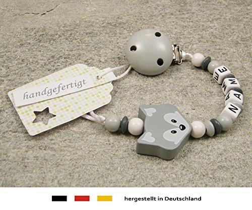 Personalised Baby DUMMY CLIP CHAIN   Pacifier Soother Holder with preferred name – girls & boys motif gray fox kleinerStorch