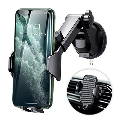 DesertWest Cell Phone Holder, Long Arm Car Phone Mount Dashboard Windshield Air Vent Universal Compatible with iPhone 11 Pro X XS Max XR 8 7 6+, Samsung Galaxy S20 S10 S10+ S10e S9 S8 S7 and More