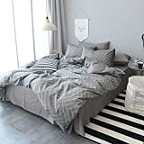 MKXI Modern Geometry Duvet Cover Soft Cotton Gingham Plaid Pattern King Bedroom Collection