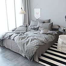 MKXI Modern Geometry Duvet Cover Soft Cotton Gingham Plaid Pattern Queen Bedroom Collection