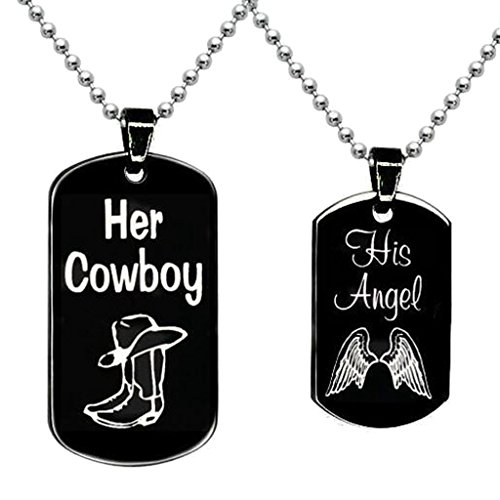 (BFF Jewelry A Set Engraved her Cowboy his Angel Necklace Square Necklaces Black Dog Tag Pendant Boots and)