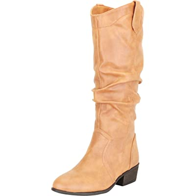 Cambridge Select Women's Western Almond Toe Slouch Chunky Low Heel Mid-Calf Cowboy Boot, 8.5, Tan Pu | Mid-Calf