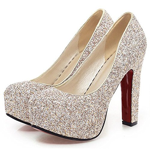 s Sequin Round Toe Chunky High Heel Bridal Shoes Slip on Hidden Platform Pumps Gold 7.5 B(M) US ()