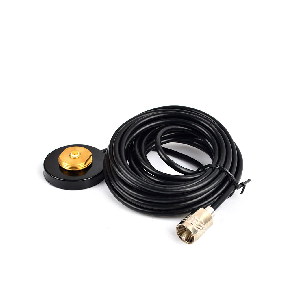 HYS TC-M55 2.16'' NMO Magnetic Mount Base (Indoor) W/5M(16.4ft) RG58 Coaxial Cable PL-259 Plug for All HF/VHF/UHF NMO Antenna