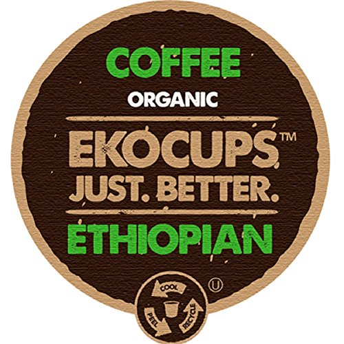 EKOCUPS Artisa Organic Ethiopian Coffee, Medium Roast, in Recyclable Single Serve Cups for Keurig K-cup Brewers, 40 count