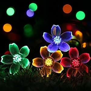 Al aire libre solar String Lights yooye flores 8modo 50LED 23m multicolor impermeable decorativo árbol de Navidad guirnalda de luces para interior, fiesta, boda decoración, Patio, jardín, decoración