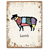 Lamb Meat Cuts Guide Chart Rustic Vintage Kitchen Wall Decor 9''x12'' Metal Plate Chic Sign Home Store Decor Plaques