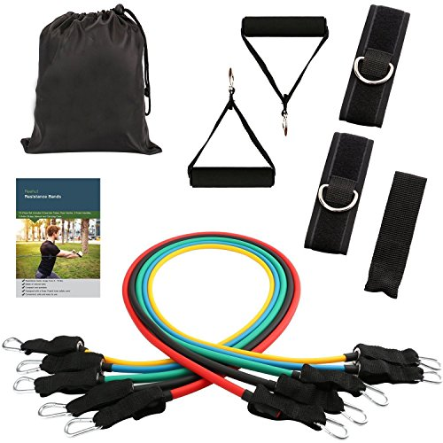 yogree Resistance Bands - 12-Piece Set Includes 5 Exercise Tubes, Door Anchor, 2 Foam Handles, 2 Ankle Straps, Manual and Carrying Case by Reehut by yogree