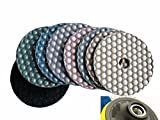 5 Inch 125mm Diamond DRY Polishing Pad 7+1 Pieces Granite Glass Concrete Sander Marble Counter top Free Priority SHIP
