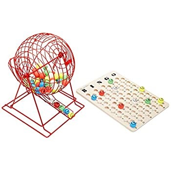 Image of Bingo Sets MR CHIPS Professional Bingo Cage (19' High) with Ping Pong Balls Plastic Coated Matte Finish & One Side Printed - Extra Large - Red