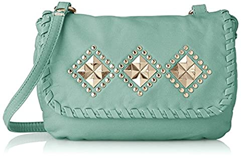 Women's Washed With Studded Flap Diamond Design Studs Crossbody Handbag Purse Mint One Size (Clear Post It Pockets)