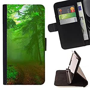 BullDog Case - FOR/HTC One M7 / - / Green Forest Road /- Monedero de cuero de la PU Llevar cubierta de la caja con el ID Credit Card Slots Flip funda de cuer