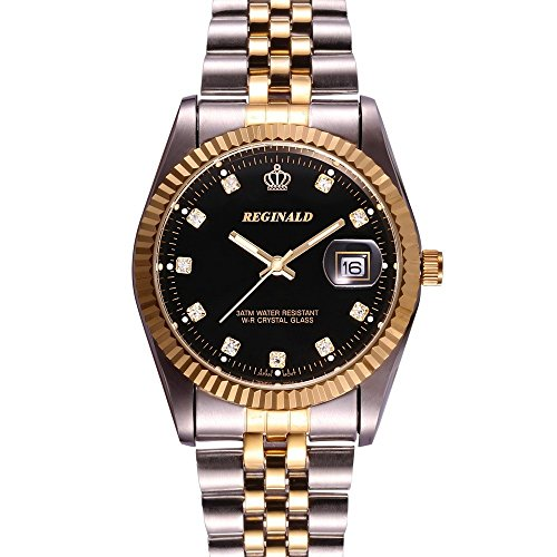 Fanmis Luxury Unisex Classic Round Gold Silver Two Tone Stainless Steel Analog Quartz Wrist Watch