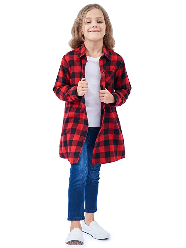 Girls\' Long Sleeve Button Down Plaid Flannel Shirt Dress