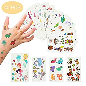 EKKONG Tatuajes Temporales para Niños Niñas, 40 Hojas Tatuajes ...