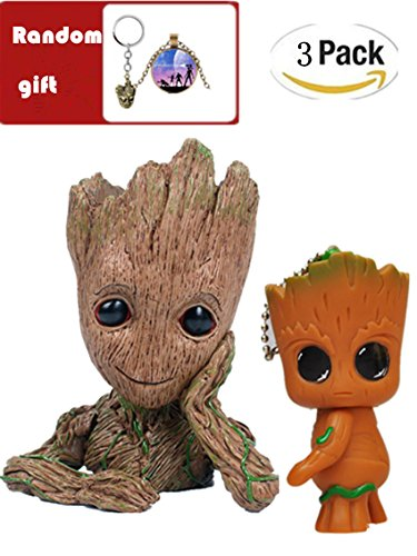 HaWenny Baby Flowerpot Groot Planter Pot Pen Container and Groot Keychain Pendant,Action Figures Guardians of The Galaxy Flowerpot Baby Cute Model Toy Pen Pot Best Gift
