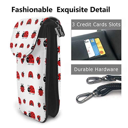Hdadwy mobiltelefon crossbody väska röd nyckelpiga kvinnor PU-läder mode handväska med justerbar rem