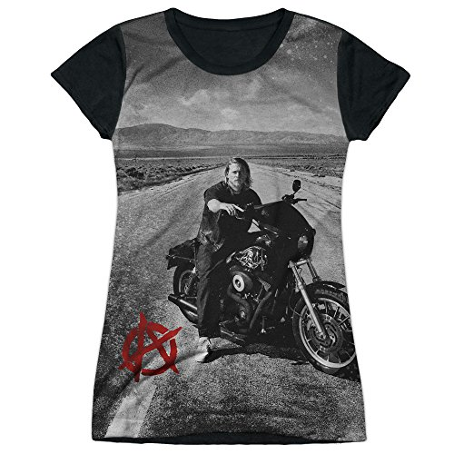 Sons Of Anarchy Crime Drama Series Jax Open Road Juniors Black Back T-Shirt Tee