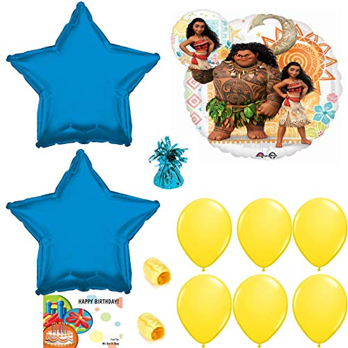 Disney Moana Birthday Party Balloons, Ribbon and Weight Bundle -