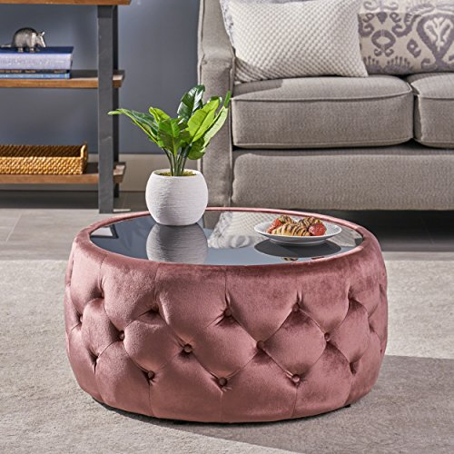 Christopher Knight Home Ivy Glam Velvet and Tempered Glass Coffee Table Ottoman, Blush, Black
