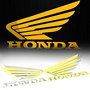 "(Pack of 2) 4.5"" x 3.75"" Fuel Gas Tank Fender Side Decal Reflective Wing Logo Vinyl Sticker for Honda Yellow"