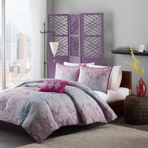 Mi-Zone Keisha Comforter Set Full/Queen Size - Fuchsia, Grey, Paisley Damask - 4 Piece Bed Sets - Peach Skin Fabric Teen Bedding for Girls Bedroom