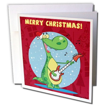 Dinosaurio balancín tocando la guitarra de Navidad–tarjetas de felicitación, 6x 6inches, Set de 12(gc _...