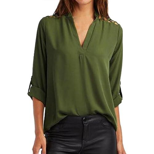 Ularma Las mujeres de Gasa sólida lengüeta de la manga ahuecar blusa camiseta Tops blusa