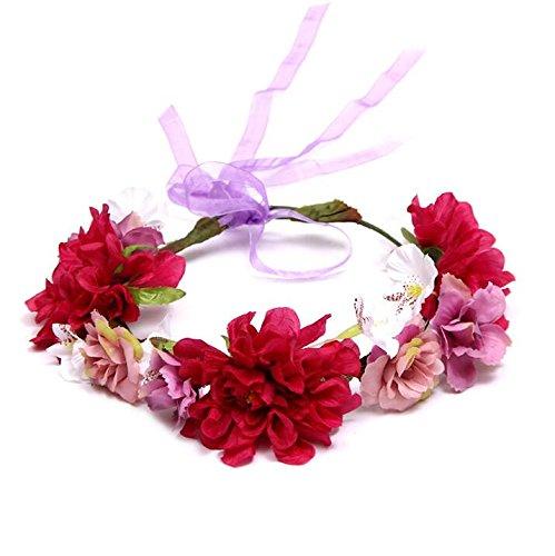 Un Ncie Partie Coiffure Photo Balnéaire Mariage Vacances Fleur Guirlande Cheveux Fleur Artificielle Band_red + Violet