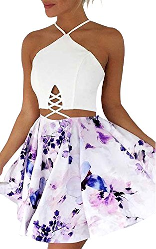 Summer Outfits Women Strap V Neck Back Cross Tie Floral Printed Short Jumpsuit Rompers Playsuits Mini Dress (Asia S=US 4, Floral-01)
